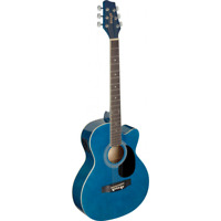 GUITARE ELECTRO ACCOUSTIQUE AUDITORIUM COULEUR BLEU PAN COUPE TABLE TILLEUL