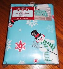 NEW Vinyl Christmas Tablecloth 60 x 102 Wipe Clean Soft Back Retro