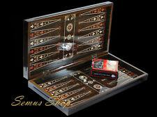 Oriental Backgammon Tavla XXL Marquetería MIRA INCI con madera piezas de juego