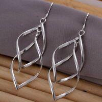 Womens Long Double Leaf Drop Dangle Hook Earrings 925 Sterling Silver Jewellery