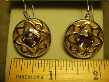 NEW BIG STERLING AMETHYST+PINK MOTHER OF PEARL RHODIUM+14KT PLATED DROP EARINGS
