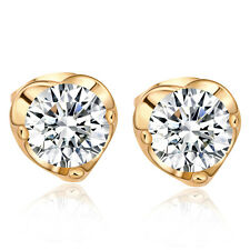 Lovely 14K Gold filled Round Crystal Charm Ruby Heart Stud Earrings