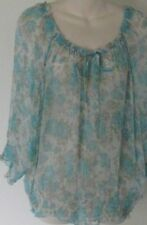 BOO Radley XL Size Floral Top with 3/4 Sleeves and Drawstring at the Neckline