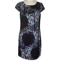 Portmans Womens Black Floral Short Sleeve Lined Dress Size 8