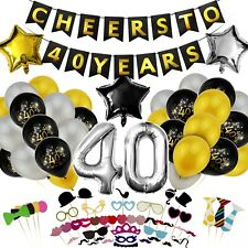 40th Birthday/Anniversary/Reunion Decorations Photo Props Party Supplies (98pcs)
