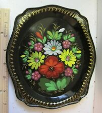 Vintage Toleware BLACK Tin Serving Tray Floral Rectangular Hand Painted Signed