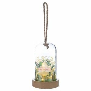 Tropical Paradise Geo Design Glass Dome Bell light Jar Fairy LED Decoration Gift