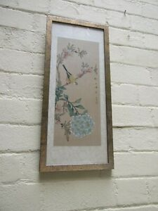 ANTIQUE ORIENTAL CHINESE WATERCOLOR ON SILK PAINTING BIRD FLORAL SIGNED ART