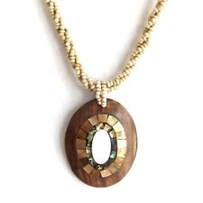 MOTHER OF PEARL WITH ABALONE SHELL WOOD PENDANT NECKLACE, OVAL RINGS LIGHT CHAIN