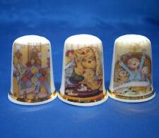 Birchcroft China Thimbles -- Set of Three -- Children & Quilts