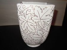 Ivory Porcelain Vase Gold Etched Leaves Made in Italy  # 1 0f 407