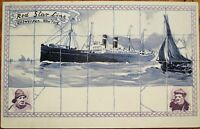 Red Star Line Steamer/Steamship 1905 Color Litho Ship Postcard: Antwerp-New York