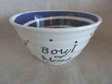 Yidddish Ware Bowl of Nosh White w/ Blue Swirl Center Exterior Black on White
