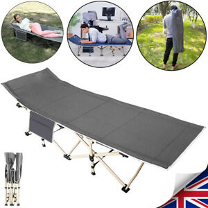 Quick Up Folding Camping Bed Cot w/ Side Pocket + Carry Bag Support Up to 250kg