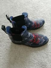 Joules Jelly Wellies, Chelsea Boot Style, Navy with Floral Print, Size 39