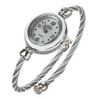 Mode Maedchen Damen Seil charmante Armband Armbanduhr grau und weiss DK O6U7