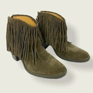 Fiorentini & Baker Ramones Fringe Suede Ankle Boots Brown Heeled Boho Leather 38