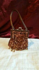 Clutch bag, flapper style, peaky blinders, brown sequined beaded, satin, VGC