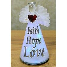 Lighted Angel Figurine FAITH HOPE LOVE - Frosted Glass LED Color Changing