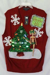 """Ugly Raunchy Naughty Christmas Sweater Vest Barbie """"HO HO HO""""  Size L Lights NWT"""