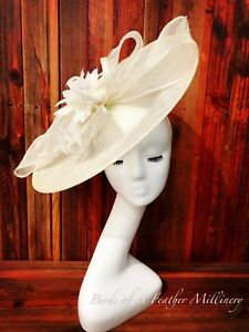 CREAMY WHITE#4 CLEARANC Feather Bow Fascinator MelbourneCup Wedding Spring Race