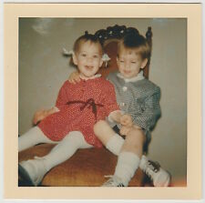 Square Vintage 60s PHOTO Little Girl & Boy Siblings On Chair