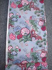 Vintage Bark cloth Fabric 22 yards available New BIRDS Flowers grey pink HTF
