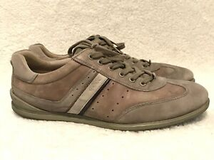 Ecco Men's Teal Distressed Leather & Suede Casual Comfort Sneakers Eur Size 46