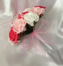 WEDDING FLOWERS PINK WHITE CORAL FOAM ROSE BRIDESMAID CRYSTAL WEDDING BOUQUET