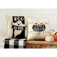 New Set 2 Mud Pie Halloween Fall Holiday Canvas Pillow Wraps GHOST PUMPKIN Black