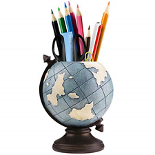 More details for globe pen pencil pot holder vintage pencil cup stand kids retro home office for