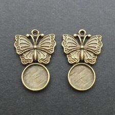 """2pcs-1.25"""" set  for 12mm Cab-Antique brass Butterfly tray Setting,Cabochon Setti"""
