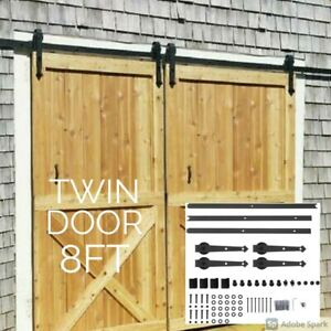 8FT 2.44M Rustic Sliding Barn Door Track Kit twin door opening left right