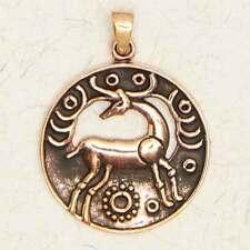Irish Stag-Bronze/Celtic/Gold/Animal/Pendant/Druid/Jewelry