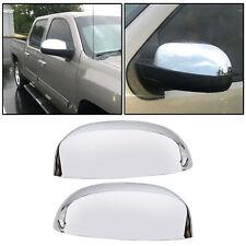 Chrome Side View Mirror Cap Top Half Cover LH RH Pair for Chevy Silverado Sierra