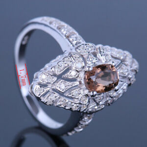 GENUINE SMOKEY QUARTZ PAVE DIAMOND VINTAGE FILIGREE Solid 10K White Gold Ring