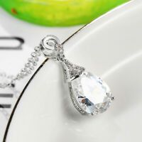 Handmade Teardrop Natural White Fire Topaz Gemstone Silver Necklace Pendants