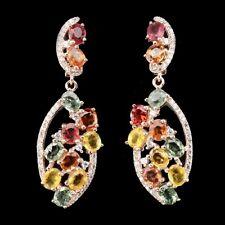 Große Ohrringe Saphir gelb orange rot grün & CZ 925 Silber 585 Roségold