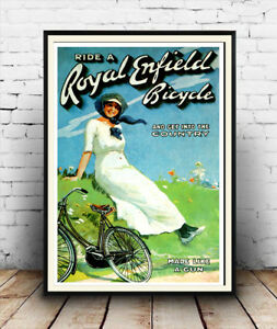 Royal Enfield ,  Vintage cycle advertising poster reproduction