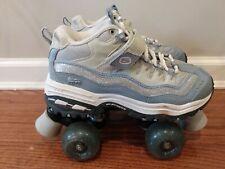 RARE Skechers 4 Wheelers Roller Skates Sz 5 Blue gray Quad Derby Shoes Vintage