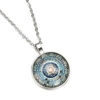 Mandala Flower Photo Cabochon Glass Vintage Tibet Silver Chain Pendant Necklace