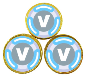 x48 V Bucks Inspired Stickers for Chocolate Coins Birthday Party 40mm Labels