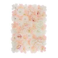 4 Pièces Panneaux de Mur Fleur Artificielle Support Maison Fête Mariage -Blanc