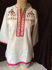 NEW wTAG Peasant Top Tunic Boho Kurti Shirt Blouse L Large White Embroidery