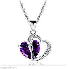 Necklace Heart Pendant Chain Silver Purple Swarovski Crystal Diamante Jewelery