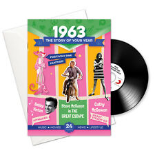 55th BIRTHDAY | ANNIVERSARY GIFT -1963 4-In-1 Card,Book,CD and Download