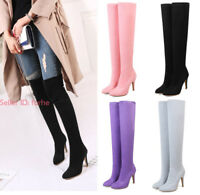 Women Ladies Long Stretch Over The Knee Boots Thigh High Heel Boots Zipper Shoes
