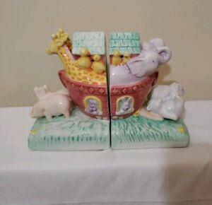 C. R. Gibson Noah's Ark Bookends Artist Cathy Heck Nursery Animals Bible Gift