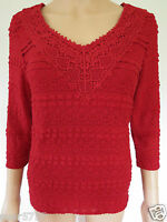 NEW Ex Per Una M&S Ladies Red Lace V Neck Tunic Top 3/4 Sleeve Party Size 8 - 24