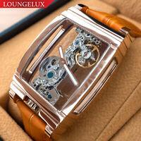 Mens Rose Gold Bridge Manual Mechanical Watch - Orange Leather DIASTERIA 1688